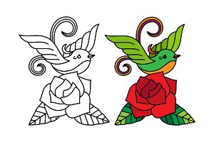 Bird with rose coloring page