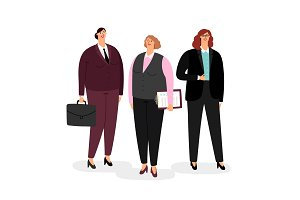Businesswomen set on white