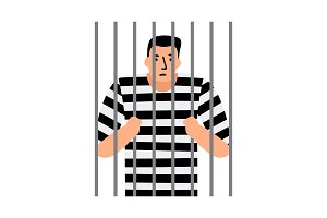 Criminal man in jail