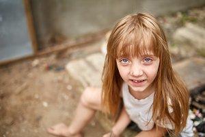 Portrait of tense vulnerable little