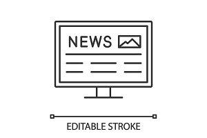 Electronic newspaper linear icon