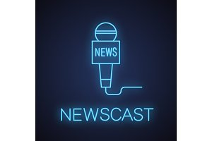 Microphone news neon light icon