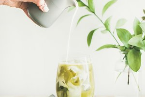 Iced matcha latte drink with coconut