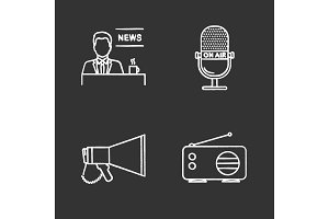 Mass media chalk icons set