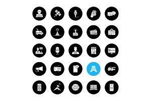Mass media glyph icons set