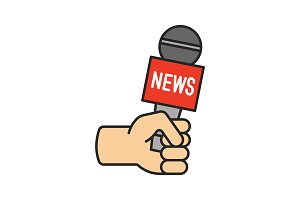 Journalist holding microphone icon