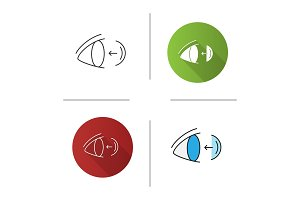 Eye contact lenses putting on icon