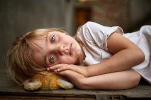 Portrait of unfortunate stray kid