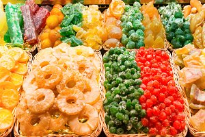 Piles of sweet candy fruits