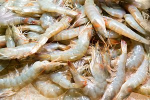 Pile of fresh uncooked prawns