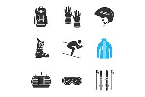 Winter activities glyph icons set