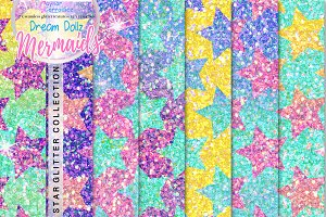 Star Glitter Seamless Patterns