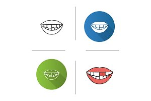 Smile with missing tooth icon