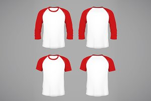 Men's baseball t-shirts mockup
