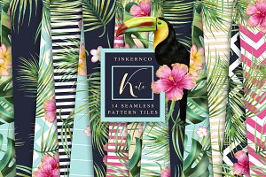 Seamless Tropical Pattern Tiles