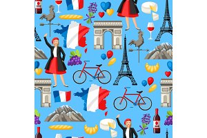 France seamless pattern.