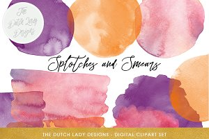 Watercolor Splotches & Smear Clipart