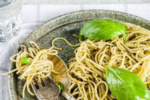 Spaghetti pasta with pesto