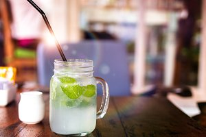 Fresh drink lemonade mojito on