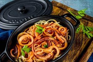 Calamari Fra Diavolo pasta