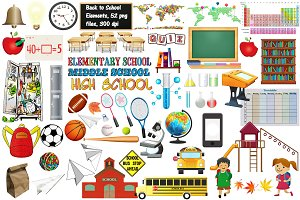 Back to School Elements Clip Art