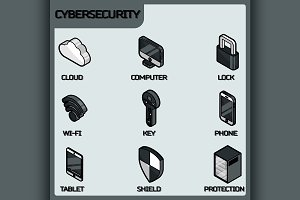 Cybersecurity color outline icons