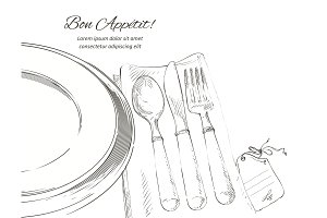 Vector cutlery set: forks, knive