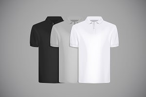 Polo shirt set with branding.
