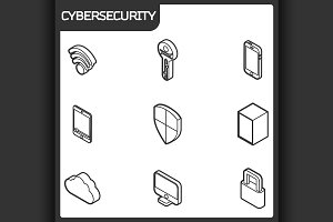 Cybersecurity outline isometric icon