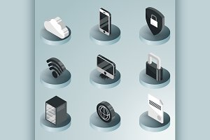 Data center color isometric icons