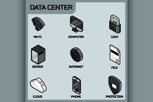 Data center color outline isometric