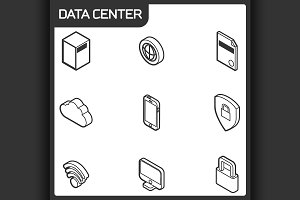 Data center outline isometric icons