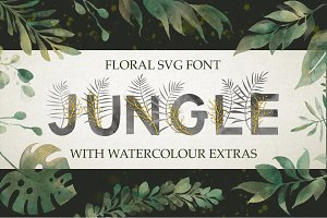 Jungle. SVG font + extras. Just 2$