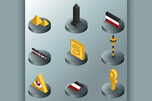Egypt color isometric icons