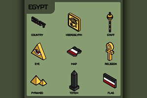 Egypt color outline isometric icons