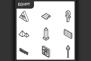 Egypt outline isometric icons