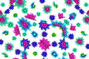 Multicolored Floral Drawing Seamless
