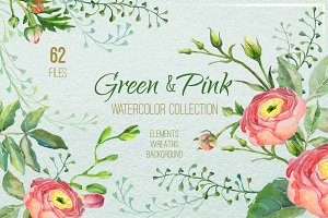 Green and Pink watercolor collection