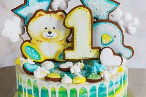 Modern bright children's cake with