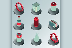 Garbage color isometric icons