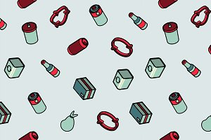 Garbage color outline isometric