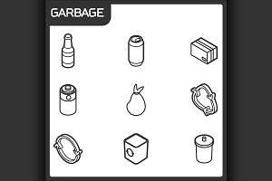 Garbage outline isometric icons