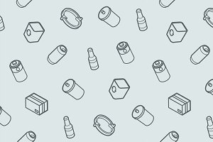 Garbage outline isometric pattern