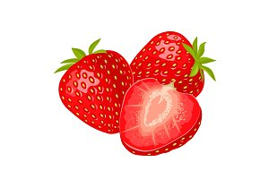 Whole and slice strawberry. Vector
