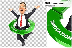 3D Businessman Jumping