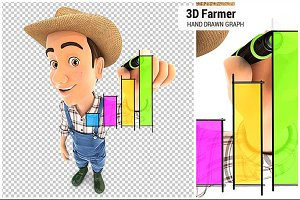 3D Farmer Hand Drawn Graph