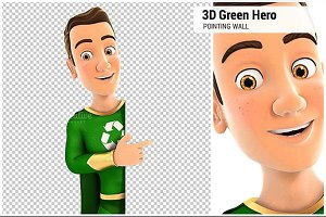 3D Green Hero Pointing to Wall