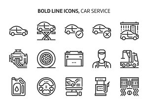 Car service, bold line icons