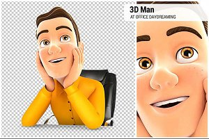 3D Man at Office Daydreaming