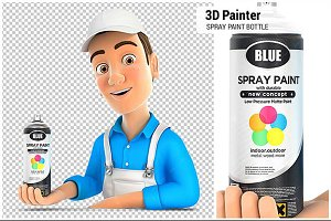 3D Painter Presenting Spray Paint